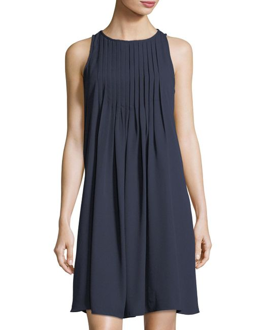 Nanette Nanette Lepore   Black Pintuck-neck Swingy A-line Dress   Lyst