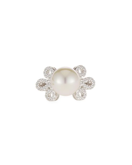 Majorica - White 11mm Pearl & Cubic Zirconia Ring - Lyst