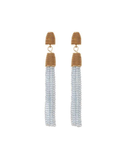 Lydell NYC - Blue Beaded Tassel Linear Drop Earrings - Lyst