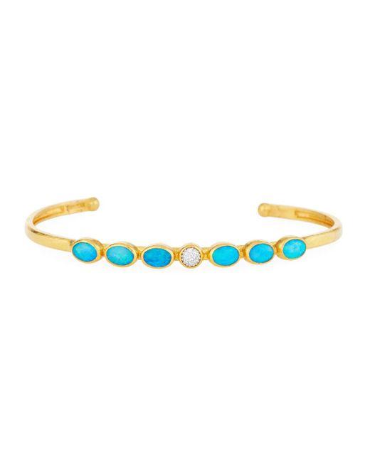 Gurhan - Metallic Amulet Hue Gold Oval Cuff Bracelet W/ Opals & Diamonds - Lyst