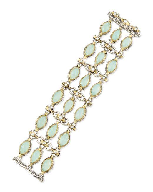 Konstantino - Sea Blue Agate & Pearl Bracelet - Lyst