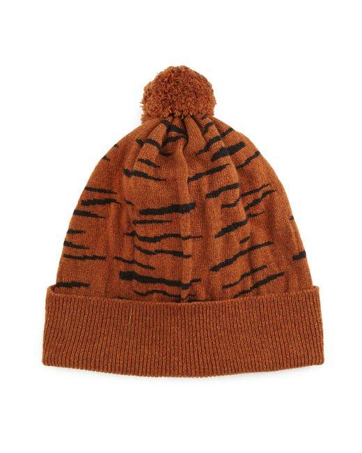 Rosie Sugden | Brown Cashmere Tiger-stripe Beanie Hat | Lyst