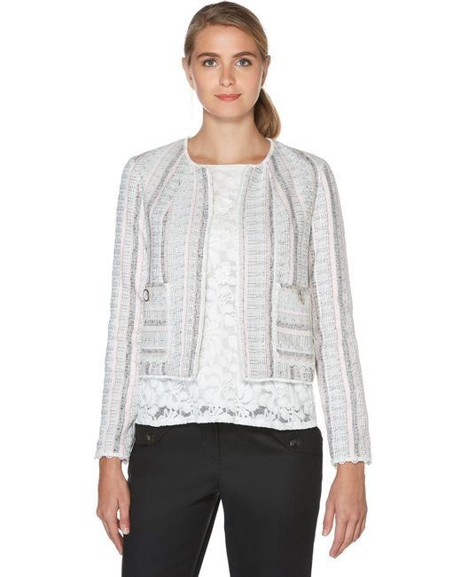 Laundry by Shelli Segal - Gray Stripe Tweed Jacket - Lyst