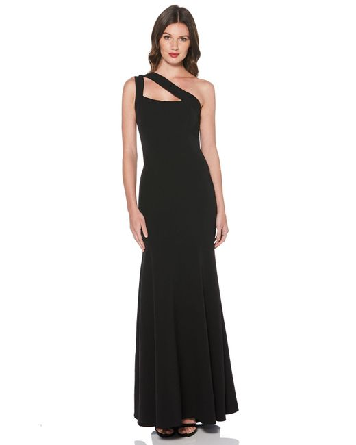 Laundry by Shelli Segal - Black One Shoulder Crepe Gown - Lyst