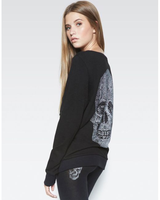 Lauren Moshi - Black Abegail Heart Skull L/s Pullover W/lace Up Front - Lyst