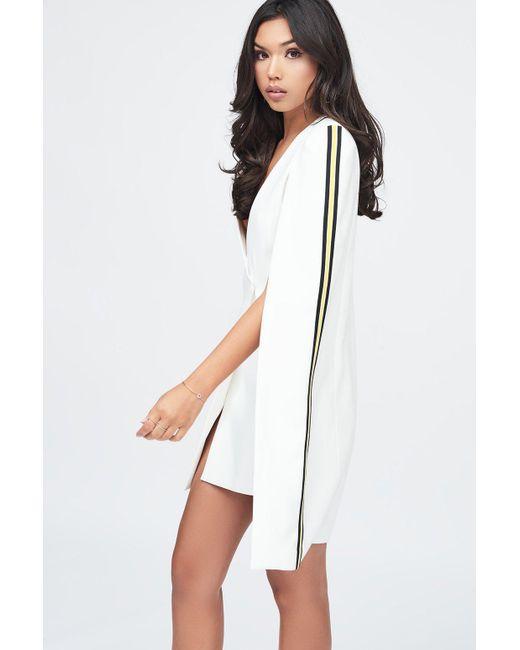 Lavish Alice - White Tuxedo Cape Mini Dress With Sports Side Stripe - Lyst