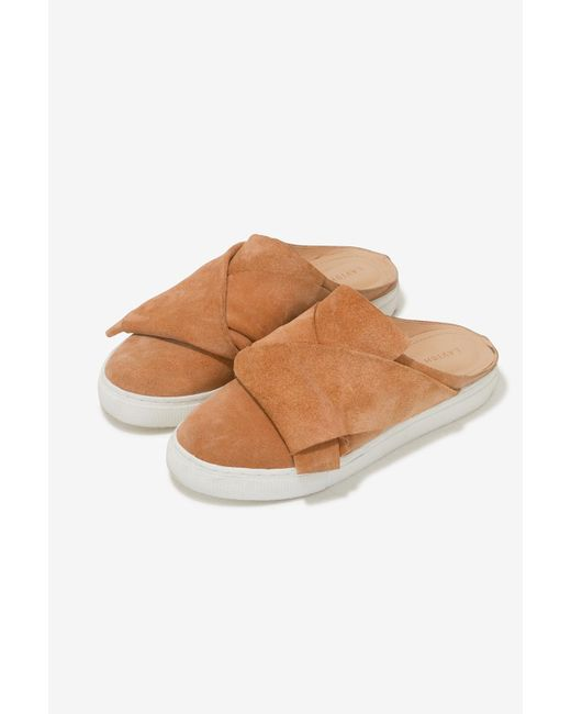 Lavish Alice   Natural Suede Backless Trainers In Camel   Lyst