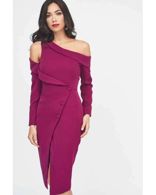 Lavish Alice - Off The Shoulder Long Sleeve Tuxedo Midi Wrap Dress In Purple - Lyst