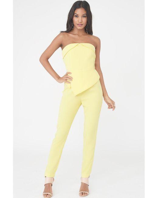 Lavish Alice - Bardot & Peplum Straight Leg Jumpsuit In Yellow - Lyst