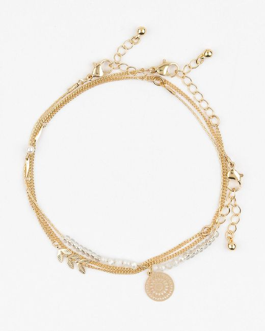 Le Chateau - Metallic Layered Anklet - Lyst