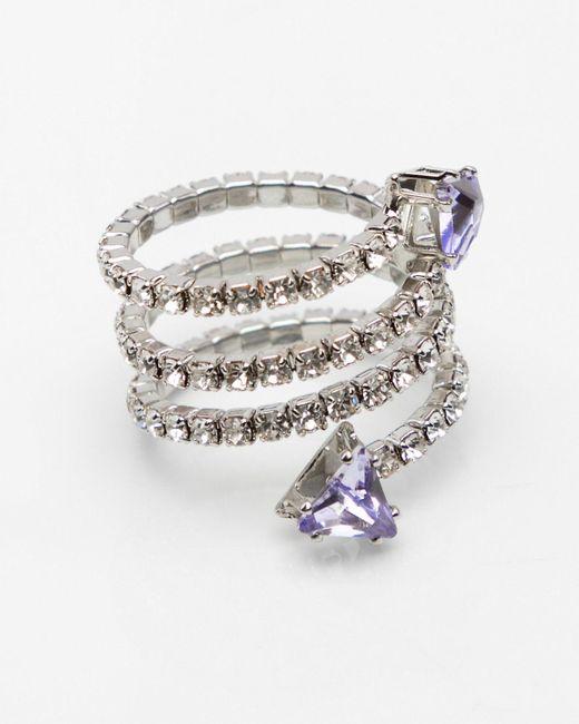 Le Chateau - Metallic Gem Coil Stretch Ring - Lyst