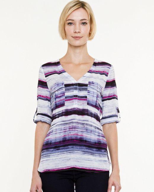 Le Chateau - Purple Stripe Challis Criss-cross Back Blouse - Lyst