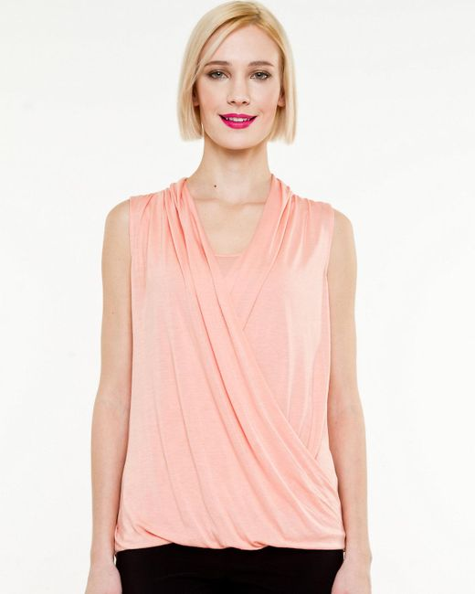Le Chateau - Pink Knit V-neck Top - Lyst