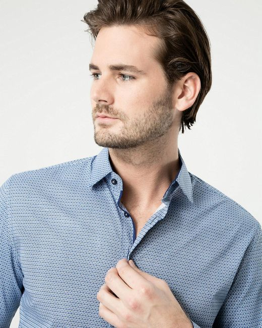 Le Chateau - Blue Printed Cotton Blend Tailored Fit Shirt for Men - Lyst