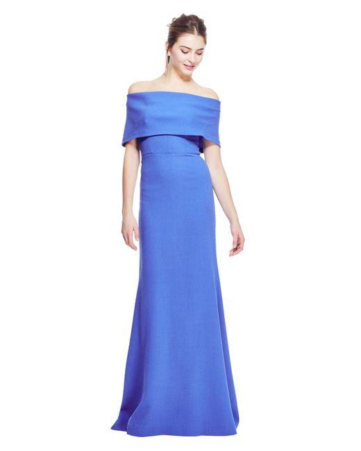 Lela Rose - Blue Wool Crepe Off The Shoulder Gown - Lyst