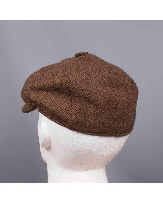 cef4ce97cab ... John Victor - Tweed Herringbone Hat Brown for Men - Lyst ...