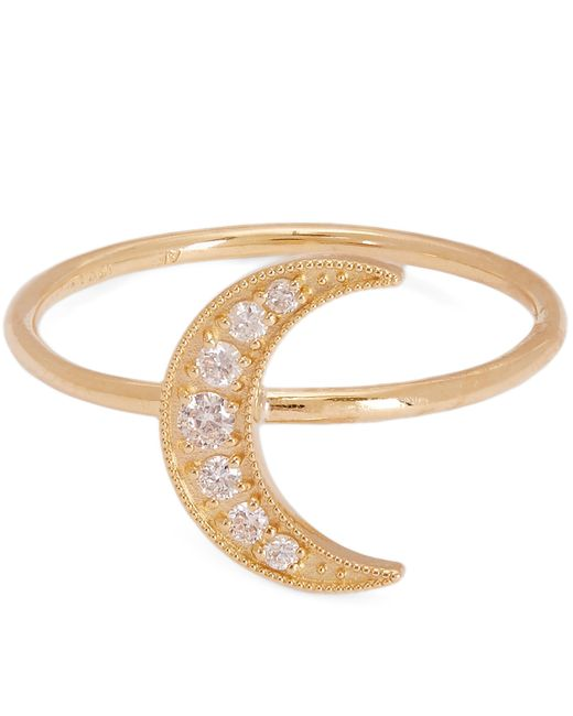 Andrea Fohrman - Metallic Gold Mini Crescent Moon White Diamond Pavé Ring - Lyst