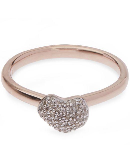 Monica Vinader - Metallic Rose Gold Vermeil Nura Mini Heart Diamond Ring - Lyst