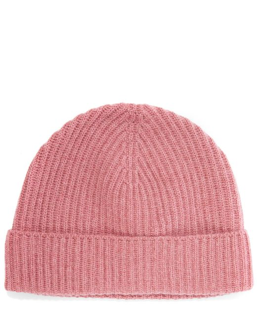 Johnstons Cashmere Knitted Ribbed Beanie Hat in Pink Lyst