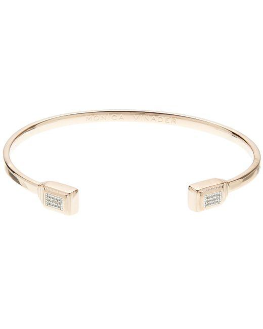 Monica Vinader - Metallic Rose Gold Baja Deco Thin Diamond Cuff - Lyst