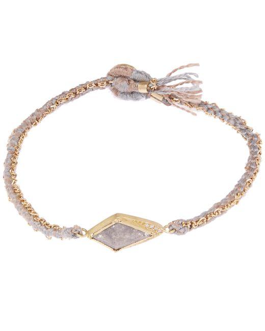 Brooke Gregson - Metallic Gold Kite Halo Diamond Silk Woven Bracelet - Lyst