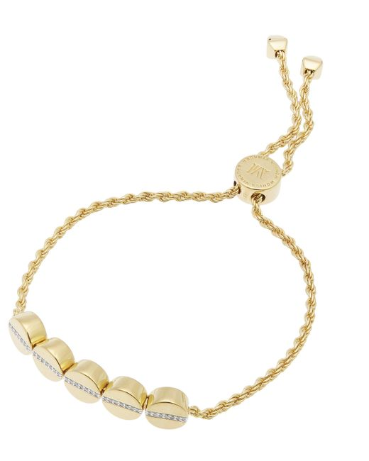 Monica Vinader - Metallic Gold-plated Linear Bead Diamond Friendship Chain Bracelet - Lyst
