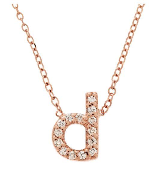 KC Designs - Metallic Rose Gold Diamond Letter D Necklace - Lyst