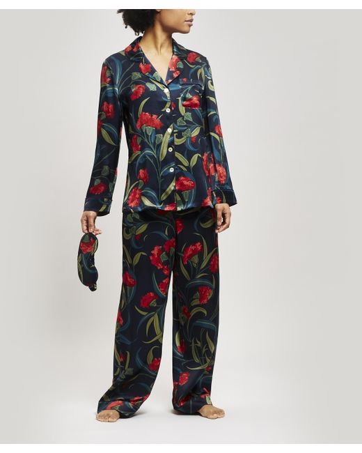 Liberty Blue Evelyn Silk Charmeuse Pyjama Set
