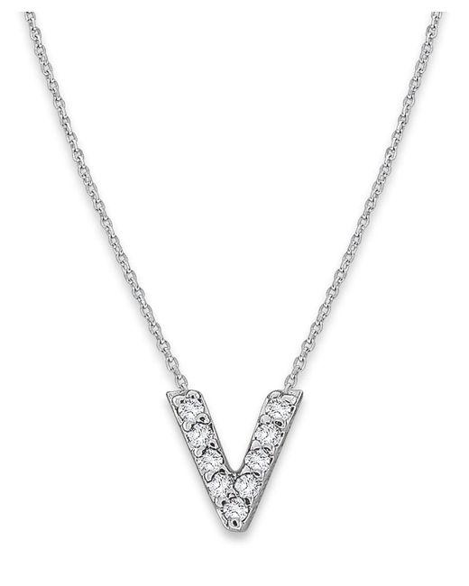 KC Designs - Metallic White Gold Diamond Letter V Necklace - Lyst