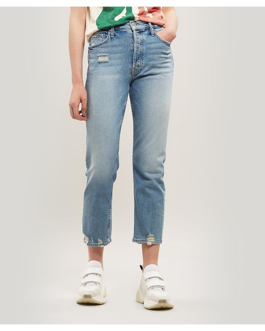 9aaccc5a68 Mother - Blue Tuc The Tomcat Cropped Straight-leg Jeans - Lyst ...