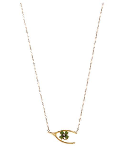Annina Vogel | Metallic Rose Gold Wishbone And Enamel Clover Necklace | Lyst