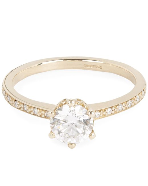 Anna Sheffield - Metallic Gold Hazeline White Diamond Solitaire Ring - Lyst