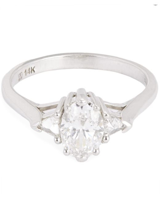 Anna Sheffield - White Gold Oval White Diamond Three Stone Ring - Lyst