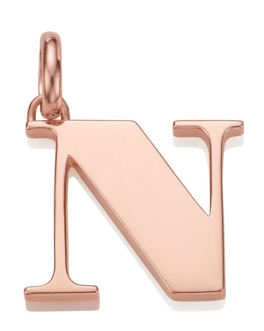 Monica Vinader - Pink Rose Gold-plated Alphabet Pendant N - Lyst