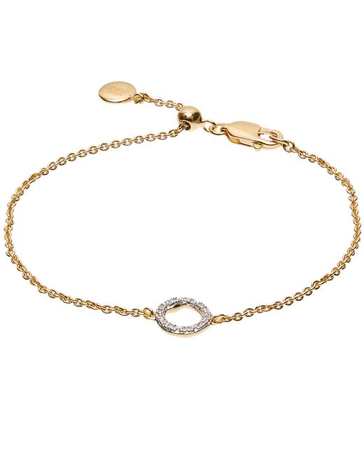 Monica Vinader - Metallic Gold Vermeil Riva Mini Diamond Circle Bracelet - Lyst