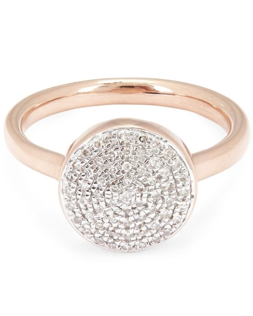 Monica Vinader - Multicolor Rose Gold-plated Large Fiji Diamond Button Ring - Lyst