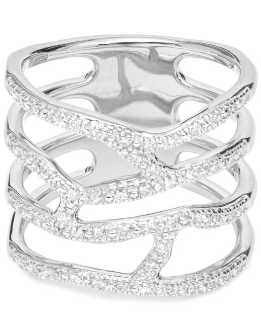 Monica Vinader - Metallic Silver Riva Waterfall Diamond Cocktail Ring - Lyst