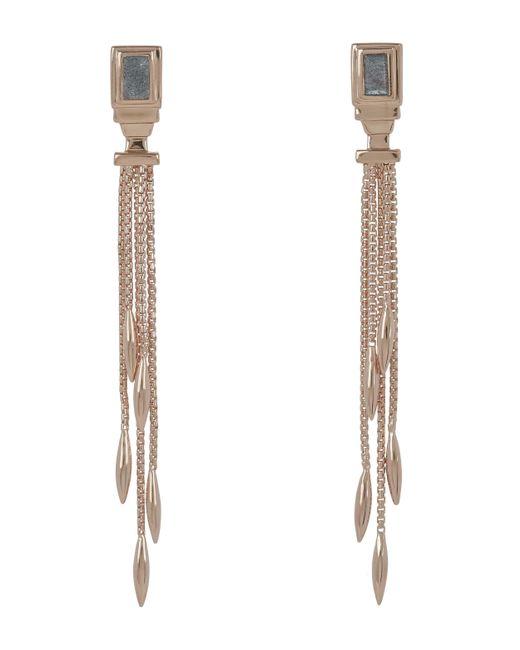 Monica Vinader - Multicolor Rose Gold Vermeil Baja Deco Thin Labradorite Cocktail Earrings - Lyst