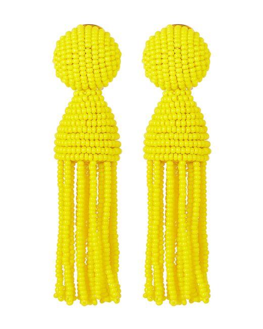 Oscar de la Renta - Yellow Short Beaded Tassel Clip-on Earrings - Lyst
