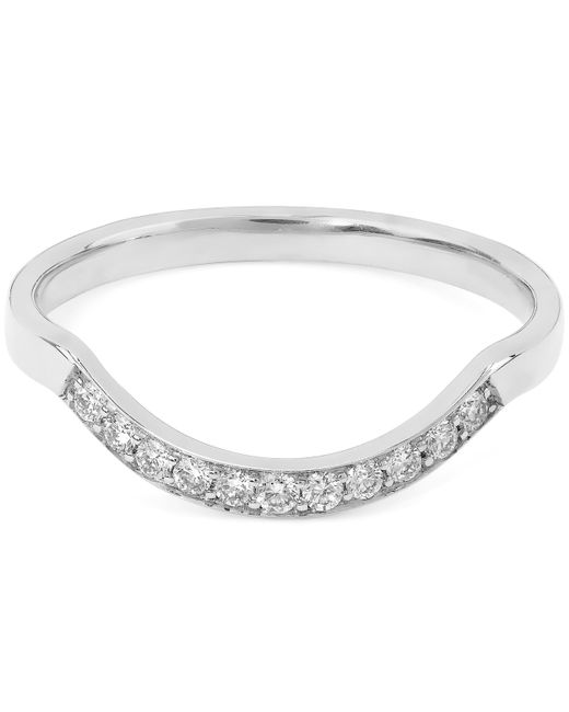 Anna Sheffield   White Diamond And White Gold Diamond Dusted Curve Ring   Lyst
