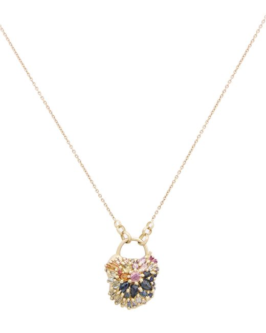 Polly Wales | Metallic Gold D'ornano Rainbow Sapphire Medium Padlock Pendant Necklace | Lyst