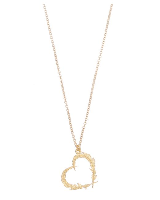 Alex Monroe   Metallic Gold-plated Feather Heart Pendant Necklace   Lyst