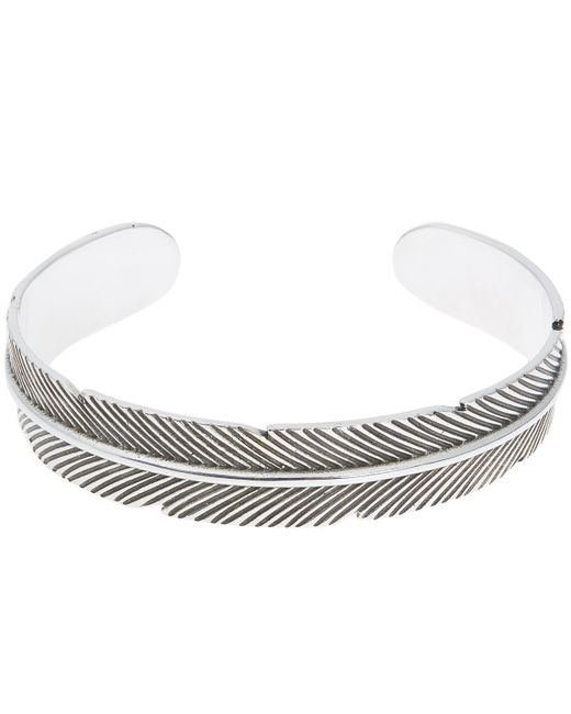 Philippe Audibert - Metallic Feather Embossed Bangle - Lyst