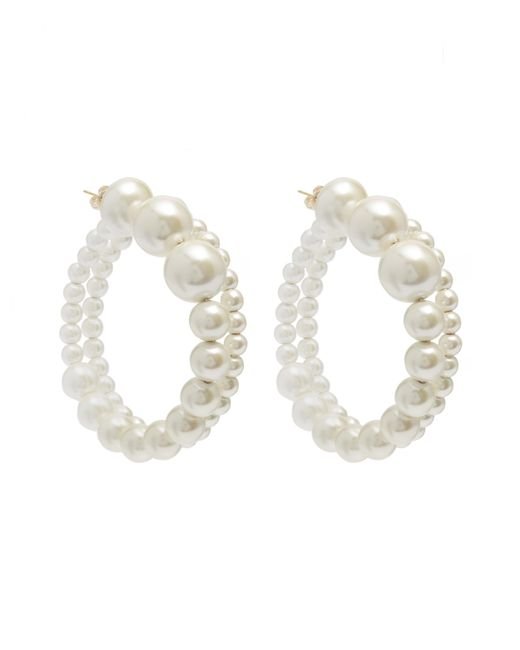 Diana Broussard   White Faux Pearl Maxi Hoop Earrings   Lyst