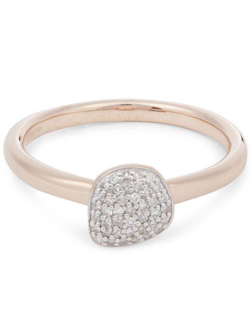 Monica Vinader - Metallic Rose Gold Vermeil Nura Mini Pebble Diamond Stacking Ring - Lyst
