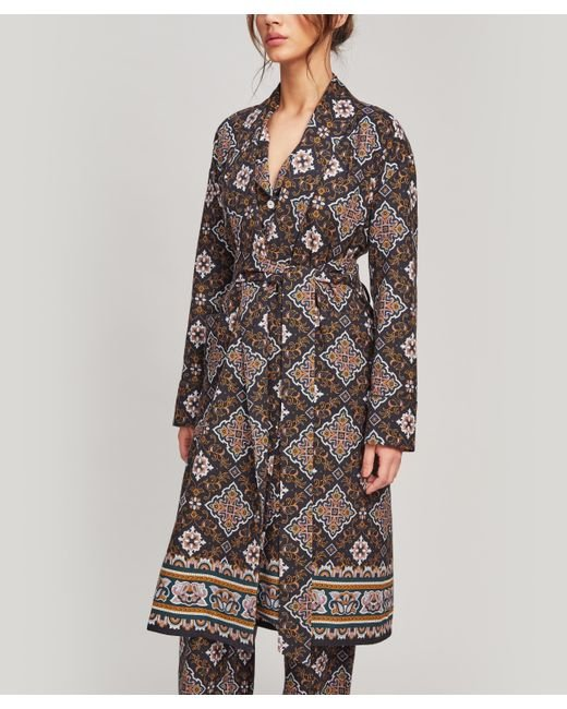 Liberty Blue Chatsworth Brushed Cotton Robe