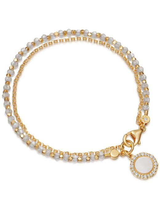 Astley Clarke - Metallic Gold Vermeil Luna Mother Of Pearl Sapphire And Moonstone Biography Bracelet - Lyst