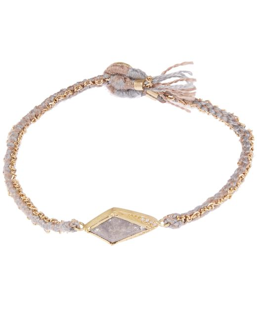 Brooke Gregson | Metallic Gold Kite Halo Diamond Silk Woven Bracelet | Lyst