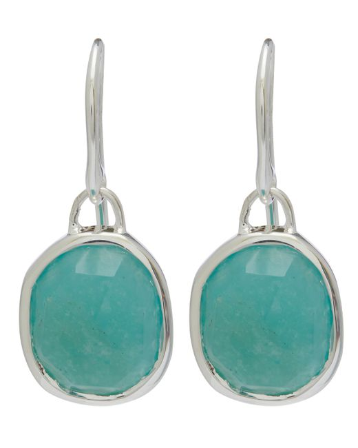 Monica Vinader - Metallic Silver Amazonite Siren Wire Earrings - Lyst