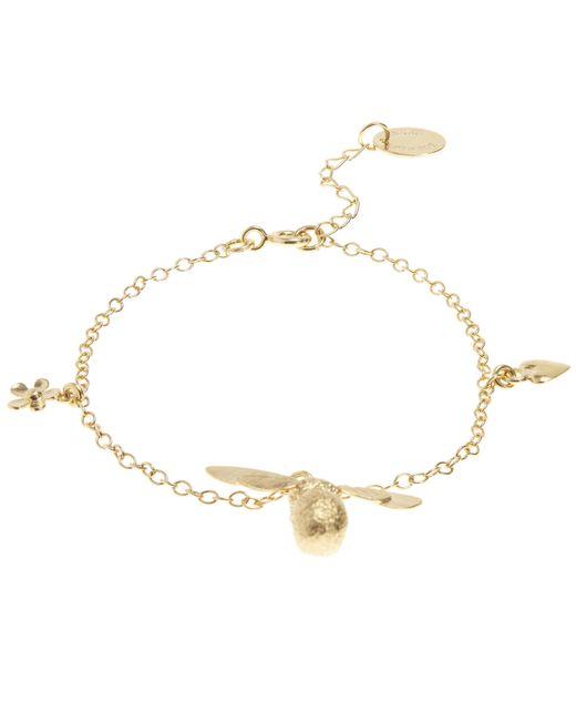 Alex Monroe - Metallic Gold Baby Bumblebee Flower Charm Bracelet - Lyst